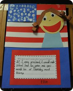 President's Day idea. Ask your child what they would change if they were president. Love the self-portrait.