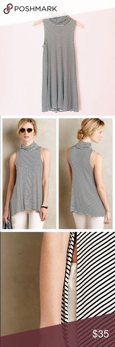 NWOT Anthropologie Top Beautiful Re-Posh. This top is a great layering piece for fall/winter, it just doesn't fit me right. Black and white stripe, stretchy fabric, slit sides. Anthropologie Tops Tank Tops