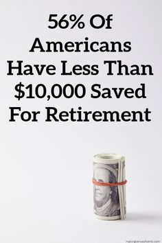 Why aren't people saving for retirement? How much do you need to retire? Did you know that 56% have less than $10,000 in average retirement savings? Retirement Savings, Saving For Retirement, Early Retirement, Money Saving Challenge, Money Saving Tips, Budgeting Finances, Budgeting Tips, Best Savings Account, Money Change