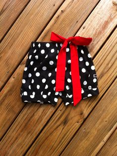 Girls Bubble shorts. Fabric bow & tie detail. Black white or any color polka dot. Custom Boutique children's clothing By EverythingSorella