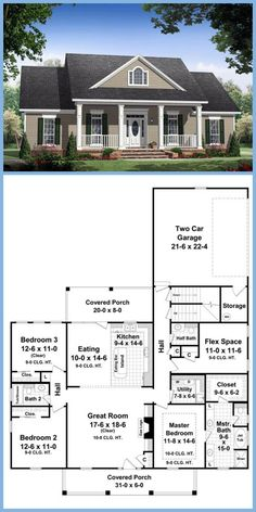 Country Farmhouse Traditional House Plan 59155