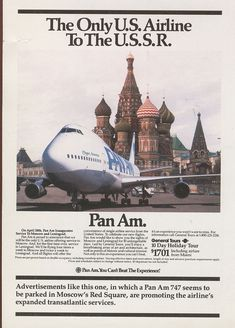 1985 An ad promoting Pan Am's service to Moscow