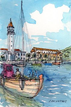 Zakynthos Harbour Greece art print from an original watercolor painting