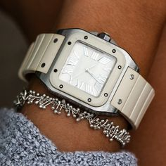 If you're constantly on the go, this Cartier Santos 100 automatic winding ladies watch will get you there in style! It features a white rubber bezel, crown and strap with a stainless steel Cartier buckle. Cartier Watches, Rolex Watches, Cartier Santos 100, Swiss Watch Brands, Tank Watch, Fine Watches, Stainless Steel Case
