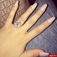 When I get engaged, my nails should look like this except with a different ring. Spring Nails, Summer Nails, Cute Nails, Pretty Nails, Khloe Kardashian Nails, Coffin Nails, Acrylic Nails, Hair And Nails, My Nails