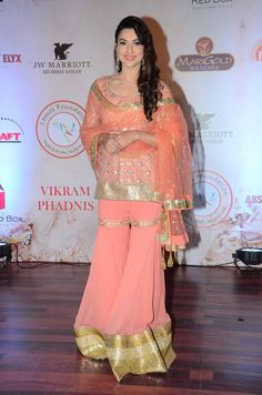 #GauharKhan was seen in a #peach colored #sharara