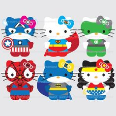 Printable Clip Art Digital PDF PNG File - Superhero Super Hero Cat 1 | wonderfuldreamland - Digital Art  on ArtFire
