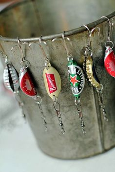"40 Homemade Christmas Gift Ideas to make him say ""WOW""  I used my recycled beer bottle caps to make fishing lures for my Daddy and brother-in-law for Christmas gifts!"
