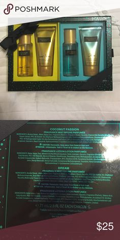 VS Fragrance & Lotion Gift Set New in box. Perfect for yourself or for a gift. This is a sold out gift set. Includes Coconut Passion Mist & Lotion & Dream Mist & Lotion. Cheaper on Ⓜ️ Victoria's Secret Makeup