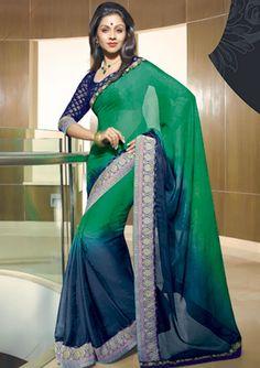 lavanya green chiffon sarees