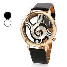 Original de quartzo analógico oco Musical nota relógio de pulso de couro de Gfit ocasional relógio Feminino Relogio Feminino(China (Mainland))