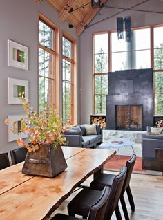 Dining room and steel fireplace - Lake Tahoe Modern Home
