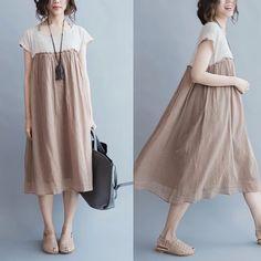 Rice dress women clothes cotton linen dress-fantasylinen в 2 Mori Fashion, Hijab Fashion, Fashion Dresses, Fashion Fashion, Simple Dresses, Cute Dresses, Casual Dresses, Linen Dresses, Cotton Dresses