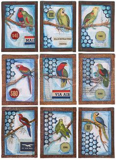 Joseph Cornell-inspired Aviary ATCs by Carolyn Brady, using parrot faux postage from Ten Two Studios