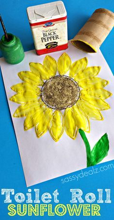 Toilet Paper Roll Sunflower Stamp Craft #TP roll #Sunflower art project | CraftyMorning.com