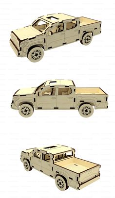 glowforge svg laser files car dxf files for laser cut pick up model puzzle jeep dxf pick up pattern for cnc plan, svg glowforge model dxf Model Toyota Tacoma. Vector plan for CNC. Sizes: 3 mm thinkness: 216 x 69 x 75 mm x 4 mm Laser Cut Plywood, Cnc Cutting Design, Laser Cutting, Toyota Tacoma, Autos Toyota, Cnc Plans, Fireman Sam, Crates, Woodworking Projects