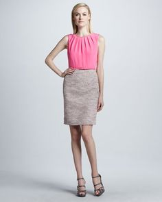 evelyn solid/print combo dress by Kate Spade at Neiman Marcus.