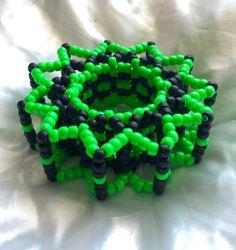Edm Festival 3D Kandi Cuff Green&Black by KandiKal