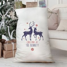 Personalised Loving Reindeers Heavy Cotton Sack