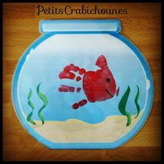 Empreinte de main, poisson dans son bocal. Peinture.
