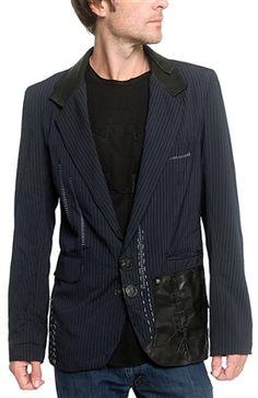 "Men's JUNKER Designs - ""NAVAR"" Custom Pinstripe and Leather Jacket"