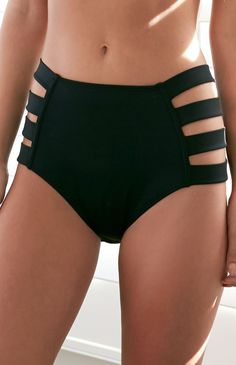High Rise Strap Bikini Bottom $27 Black XS S M L XL