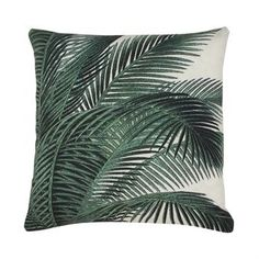 Add a tropical vibe to any room with this on-trend Green Palm Tree Print Cushion from Bahne! This stylish cushion features a vivid green palm tree Printed Cushions, Scatter Cushions, Throw Pillows, Pink Cushions, Accent Pillows, Decoration Design, Deco Design, Leaf Images, Palm Print