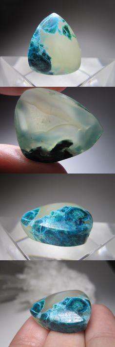 Other Loose Gemstones 282: Blue Dot Chrysocolla Chalcedony Quartz Gemstone Cabochon Ray Mine Arizona Usa -> BUY IT NOW ONLY: $60 on eBay!