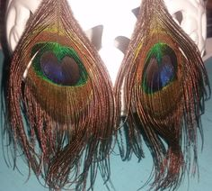 Large Peacock Feather Earrings 6 inches long by RAVsLostAndFound