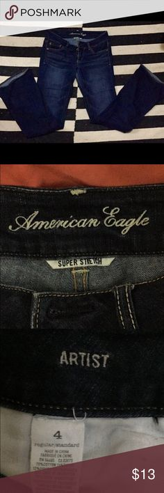 """Two pairs! American Eagle """"Artist"""" jeans Two pairs of dark wash, American Eagle Artist jeans. Flared bottoms and nice stretch. Both size 4. American Eagle Outfitters Jeans Flare & Wide Leg"""