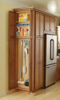 End kitchen cabinet for cleaning supplies