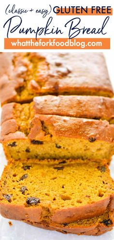 This is the best classic gluten free pumpkin bread recipe! It's a classic loaf made with raisins (which are optional) and made with full can of pumpkin. This is an amazing gluten free quick bread! This bread is great for holidays too! Gluten Free Quick Bread, Gluten Free Pumpkin Bread, Best Gluten Free Recipes, Quick Bread Recipes, Gluten Free Cookies, Gluten Free Baking, Gluten Free Desserts, Cooking Recipes, Cake Recipes