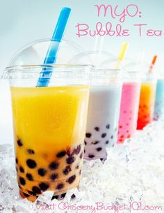 Make your own delicious Bubble Tea! Bubble tea, also known as Boba Tea, is a versatile tea-infused beverage of milk or cream, tea or fruit juice drink that you can eat. (click on photo for recipes)  #Amazmerizing