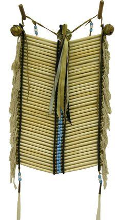 Bone hair pipe #breastplate with horse hair ties, metal accents & ribbon. #PrairieEdge #American Indian