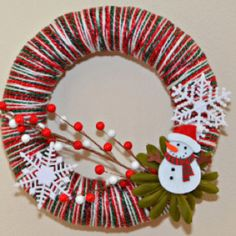 Wrap your holiday spirit all over your own unique Christmas yarn wreath! The options are endless:)