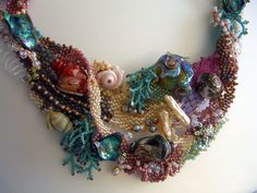 Close up of shell freeform necklace by Jan Cahill