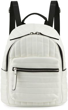 Neiman Marcus Linear Quilted Backpack, White