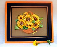 Painting Sunflower Art 3D Flower Wall  Orange Flower Artwork   #gift #birthday #FancyCard #embroidered_cards #wedding #newdwelling #usedthreadsflorals #Keepsakecard #fiberart #unusualgift #fiberartist #embroideryart #Bohho #Rusticstyle #Shabbychic #Vintage #Victorianstyle #EmbroideryByJuliaUA