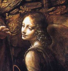 Leonardo da Vinci, detail from Madonna of the Rocks showing the angel guarding Mary and the child Jesus