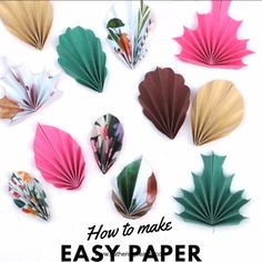 HOW TO MAKE FOUR EASY DIY PAPER LEAVES FREE PRINTABLE craftprojects Get crafty this fall with these easy folded paper leaves. These homemade leaves are so simple to make and ideal for all sorts of autumn craft projects. Change the colour depending on the Diy Origami, Paper Crafts Origami, Paper Crafting, Easy Crafts With Paper, Paper Folding Crafts, Origami Heart, Paper Flowers Craft, Flower Crafts, Diy Flowers
