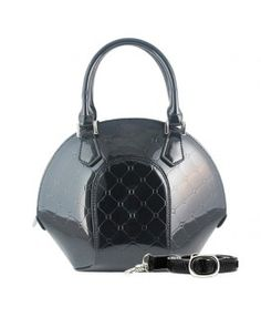 Black leather diamond print purse at David Appel Furs