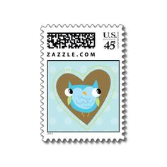 Lovely Owl - Blue & Green  Jazz up your life with these great owl postage stamps!