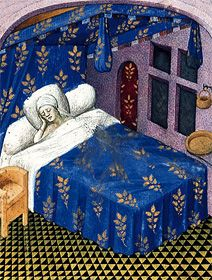 Feuillages de rosiers encadrant le premier feuillet d'un manuscrit du Roman de la rose. Guillaume de Lorris et jean Meun, Paris, vers 1420 -14.  BNF, Manuscrits, français 804, f. 1  Des feuilles de rosier qui parsèment le lit du dormeur et encadrent la page de titre entrent en résonance avec le titre du livre. Le manuscrit porte les armes de la famille Du Plessis d'Assé.