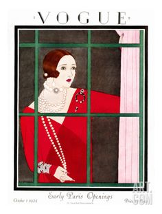 Vogue Cover - October 1924 Premium Giclee Print by Harriet Meserole at Art.com
