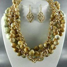 Necklace  Set Beige Color Multi Beads Necklace  Set Jewelry Necklaces