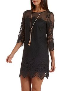 Embroidered Mesh & Crochet Shift Dress: Charlotte Russe