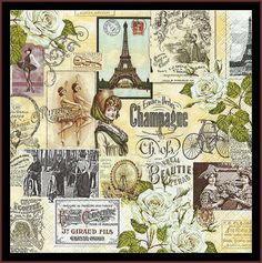 4 Napkins - Decoupage Paper Napkins For Crafts - Shabby Chic Vintage Nostalgic Style For Mixed Media, Scrapbooking