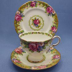 DW PARAGON Tapestry Rose Corset Tea Cup Saucer Plate Trio, Pink Rose Teacup, Tapestry Rose, Paragon Bone China England, Double Warrant by Thinkilikeit on Etsy