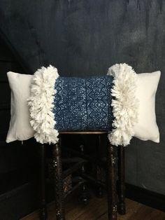 Indigo Hmong Pillow Hill Tribe Ethnic Moroccan Pillow | Boho Pillow | Tribal | Handira | Berber | Fringe Pillow | Tassel Pillow indigo mudcloth pillow textile fabric long boho African DIY taisasilecky