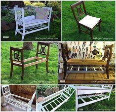 DIY bench from old chairs Furniture Projects, Home Projects, Home Furniture, Outdoor Furniture Sets, Outdoor Decor, Outdoor Benches, Refurbished Furniture, Repurposed Furniture, Furniture Makeover